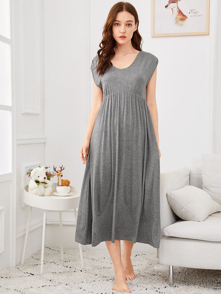 Solid High Waist Night Dress