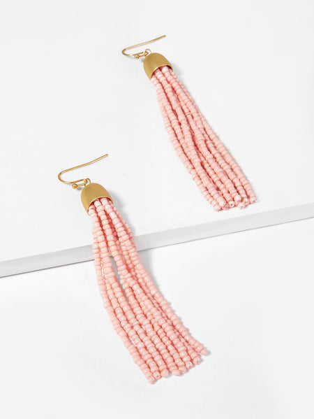 Long Beaded Tassel Drop Earrings 1pair