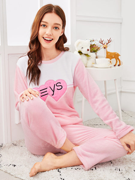 Heart Embroidered Plush Pajama Set