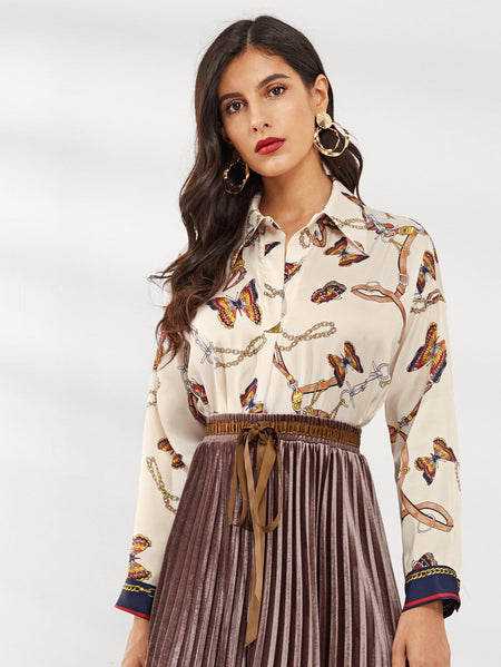 Butterfly Print Single Breasted Blouse