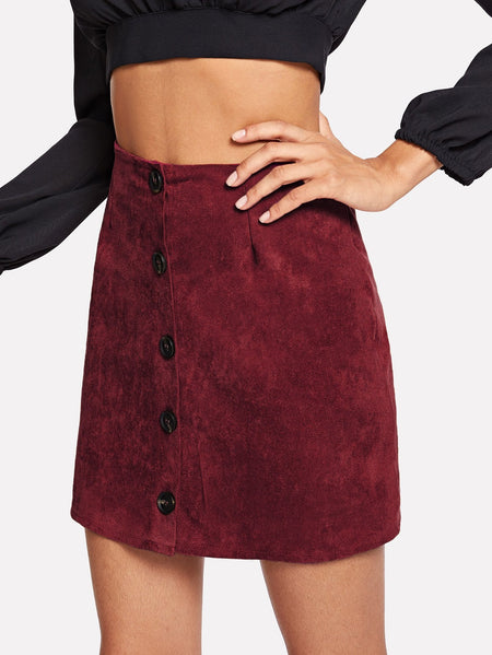 Single Breasted Solid Suede Skirt