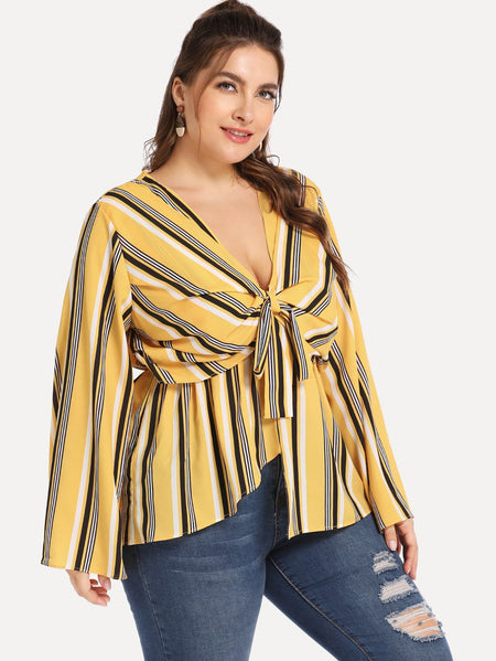 Plus Knot Front Striped Blouse