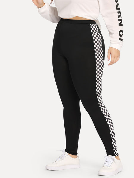 Plus Contrast Checkered Leggings