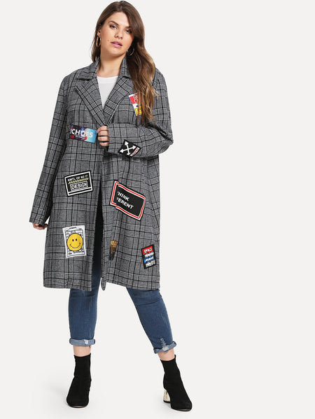 Plus Patched Decoration Plaid Coat