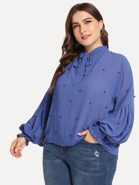 Plus Beaded Decoration Bishop Sleeve Blouse