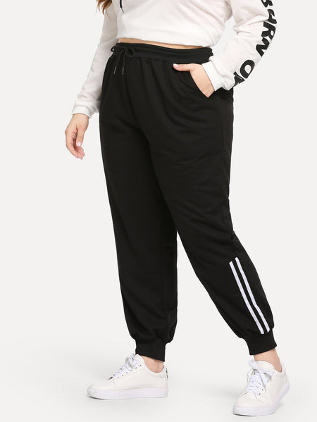 Plus Varsity Striped Drawstring Pants
