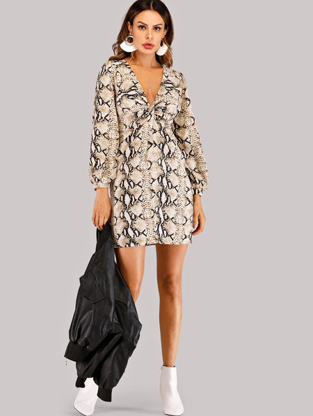 Twist Front Snakeskin Plunge Dress