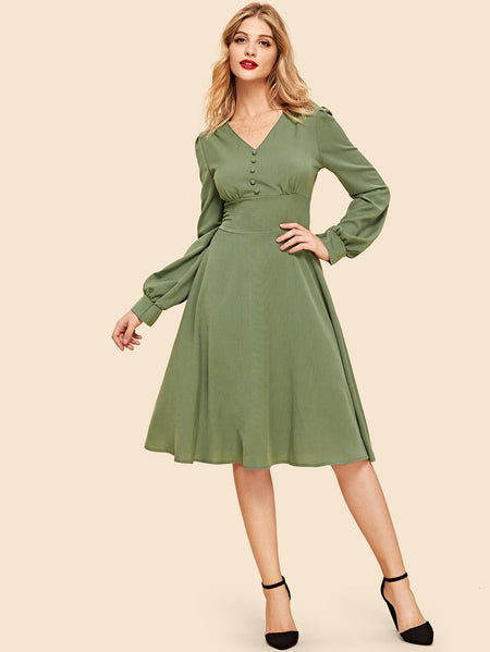 50s Bishop Sleeve Solid Dress