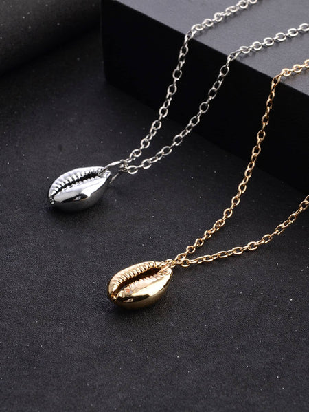 Metal Shell Chain Necklace Set 2pcs