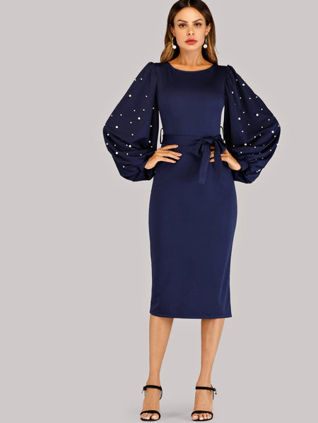 Faux Pearl Studded Bishop Sleeve Belted Dress