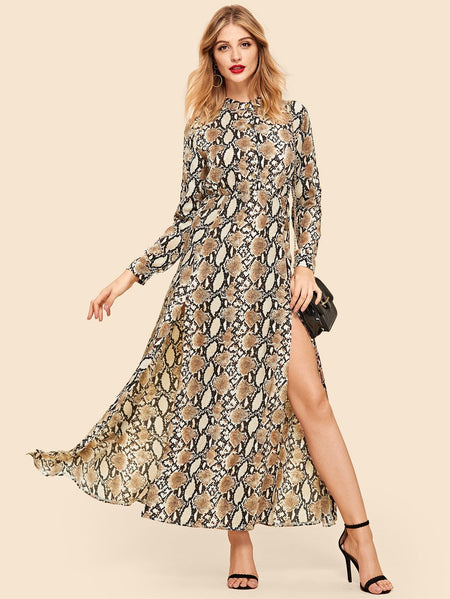 Snake Print High Split Dress