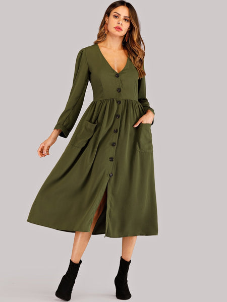 Button Front Solid Utility Dress