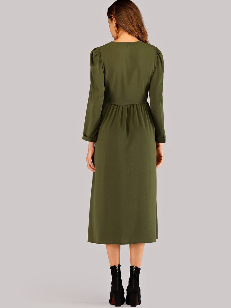 Button Front Solid Dress