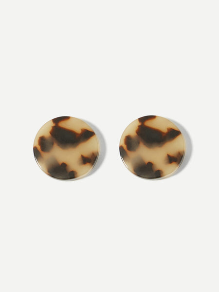 Leopard Pattern Round Stud Earrings 1pair