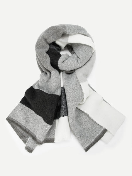 Frayed Trim Color-block Scarf