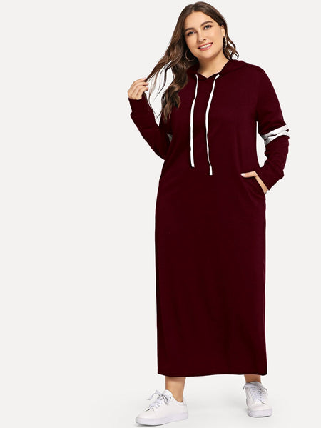 Plus Contrast Striped Side Hoodie Dress