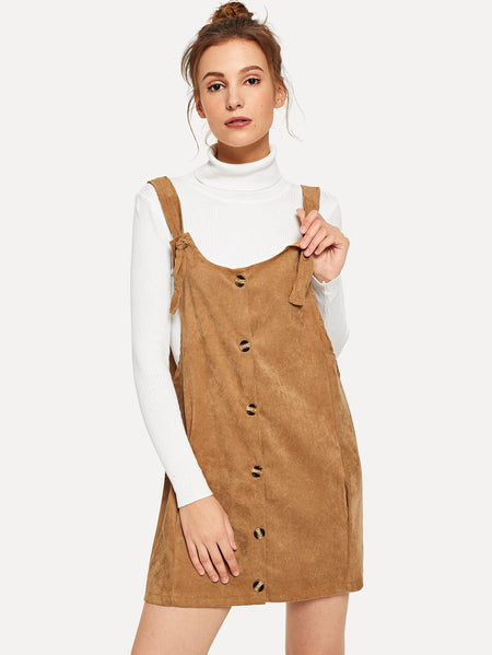 Single Breasted Pinafore Corduroy Dress