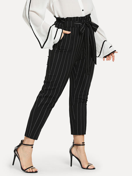 Plus Striped Self Tie Waist Pants