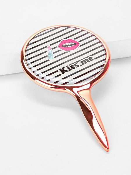 Striped Pattern Makeup Mirror With Metallic Handle