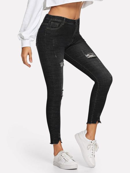 Ripped Detail Solid Jeans