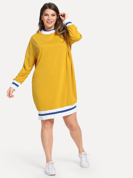 Plus Contrast Trim Sweatshirt dress