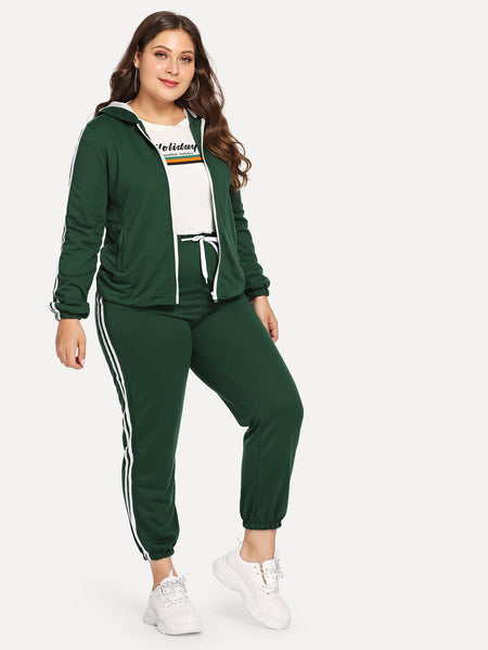 Plus Hooded Sweatshirt With Side Stripes Sweatpants