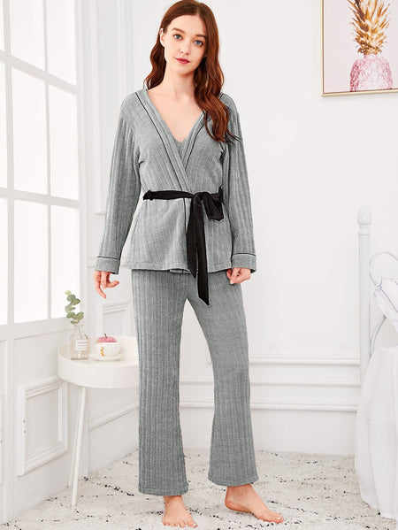 Solid Cami Pajama Set With Wrap Robe