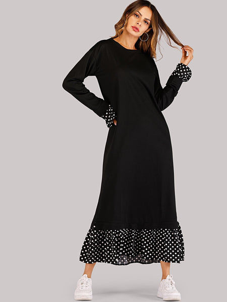 Polka Dot Trim Pephem Combo Maxi Dress