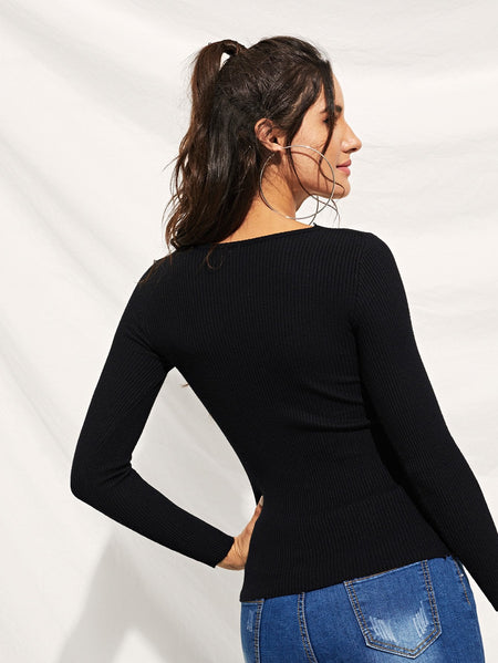 Knit Detail Skinny Solid Sweater