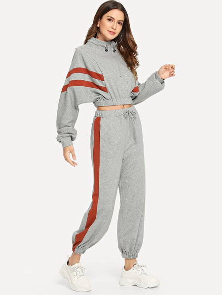 Contrast Panel Quarter Zip Sweatshirt With Drawstring Pants