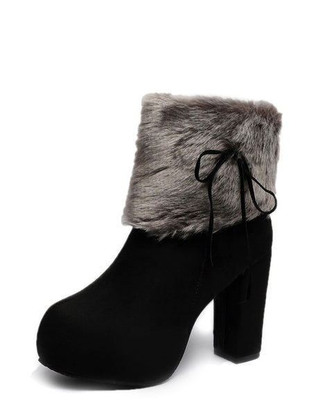 Contrast Faux Fur Zipper Boots