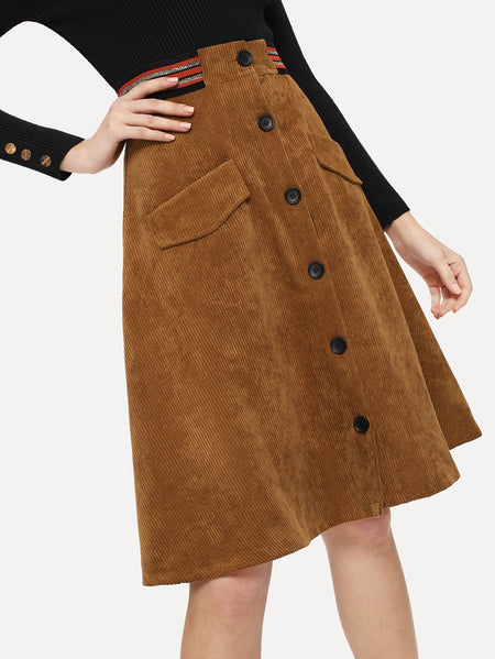 Button Front Double Pocket Corduroy Utility Skirt