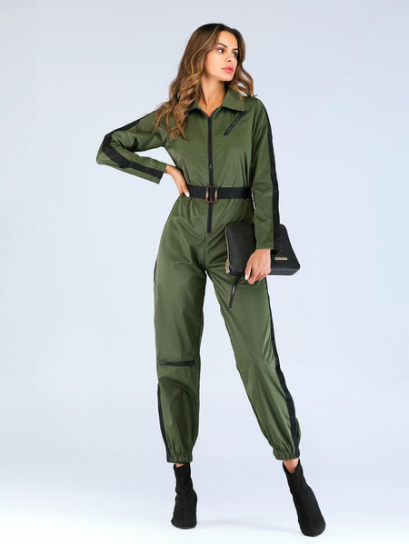 Cut And Sew Quarter Zip Belted Jumpsuit