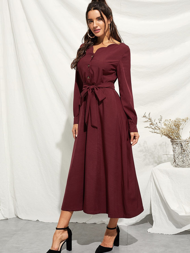 Scallop Edge Button Through Belted Dress