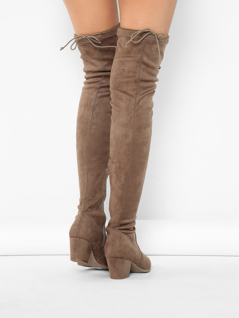 Pointed Toe Stretch Suede Block Heel Thigh Boots