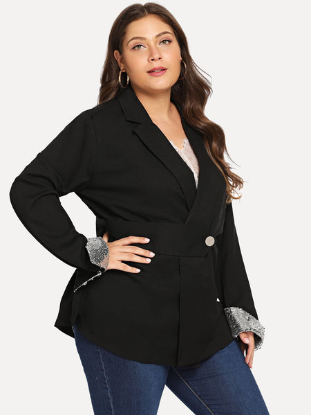 Plus Contrast Sequin Blazer