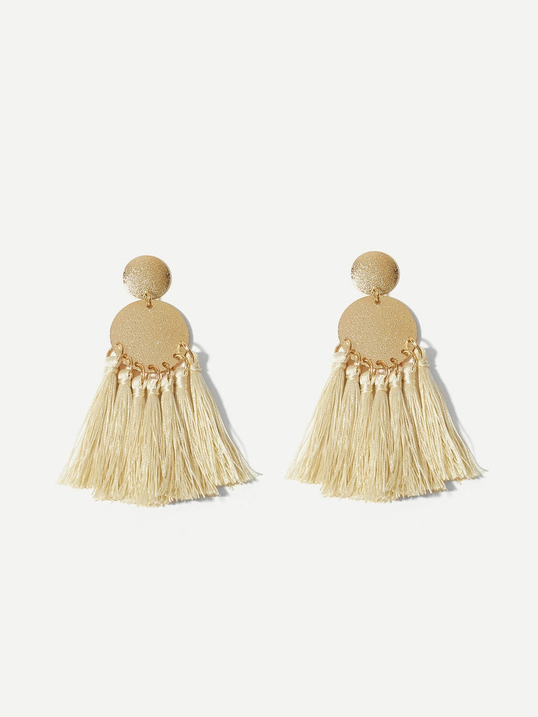 Disc Tassel Drop Earrings 1pair