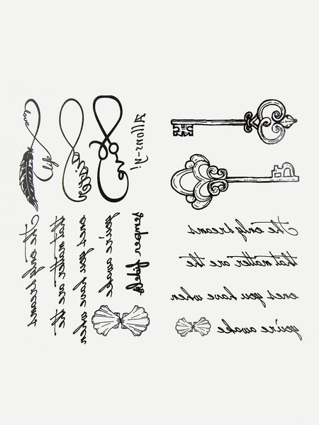 Letter & Key Tattoo Sticker Two Sheets With Glue 3pcs