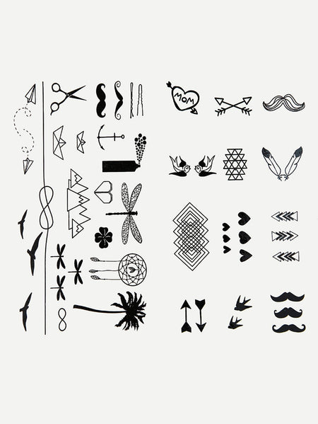 Mixed Pattern Tattoo Sticker Two Sheets With Glue 3pcs