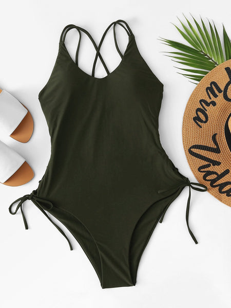 Lace-up Criss Cross One Piece Swimsuit