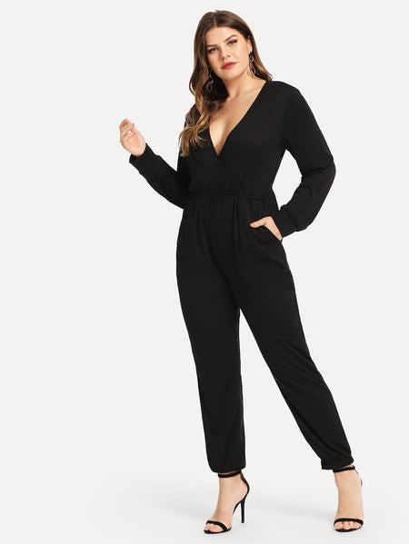 Plus Solid V-Neck Jumpsuit