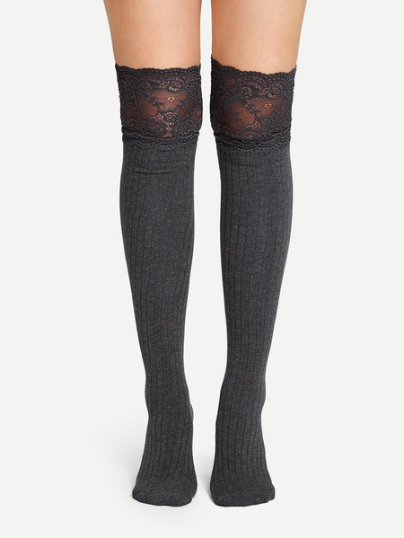 Over The Knee Lace Hem Socks