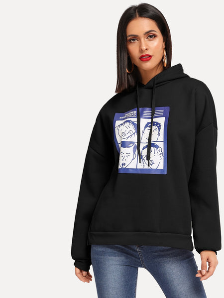 Figure Print Drop Shoulder Hoodie