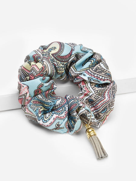 Mixed Pattern Hair Tie With Tassel Pendant
