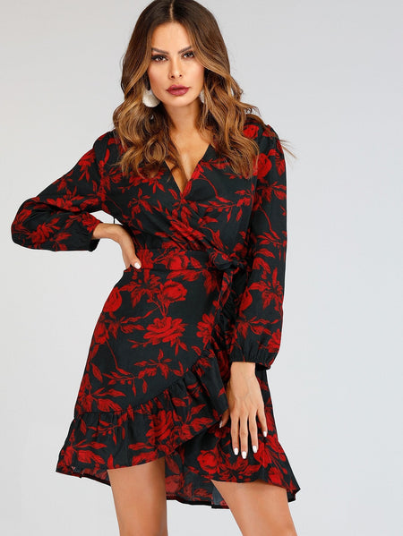 Self Tie Ruffle Hem Floral Print Dress