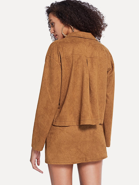 Solid Suede Coat With Button Front Utility Skirt
