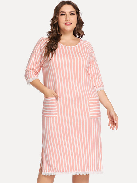 Plus Lace Trim Striped Night Dress With Eye Mask