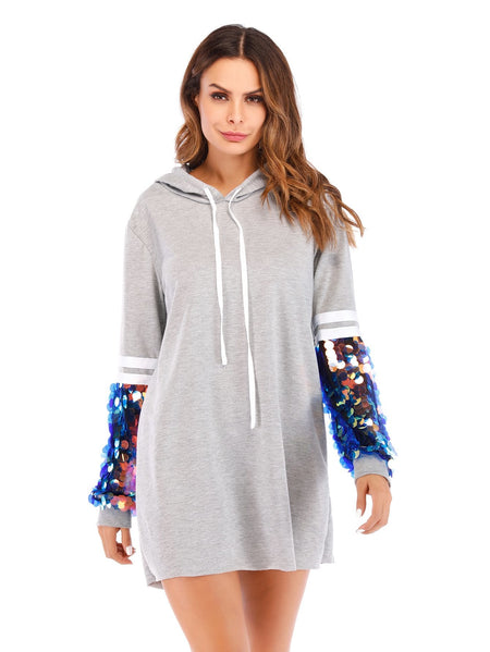 Contrast Sequin Varsity Sleeve Hooded Dress