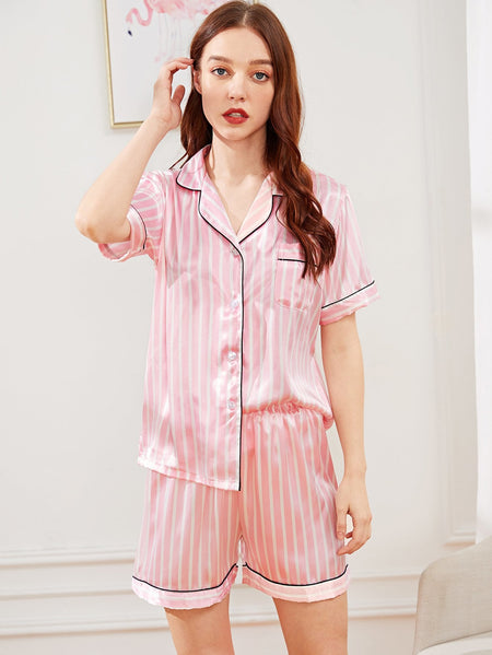 Striped Button Up Satin Pajama Set