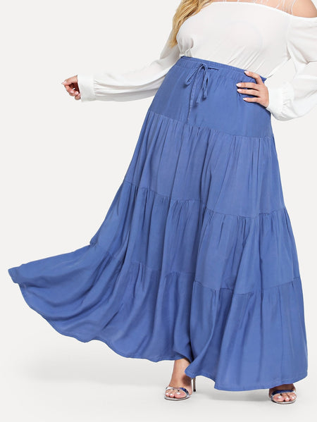 Plus Drawstring Tiered Seam skirt